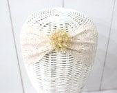 Light Peach Lace Headband - romantic Head wrap - Stretch headband - Lace wedding headband