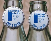 "Vintage Bottle Cap Earrings ""Towne Club Pop A Go Go"""