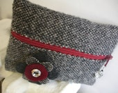 100% Wool Plebe Mini Pouch - Cadet Dress Burgundy with Silver Accented Flower