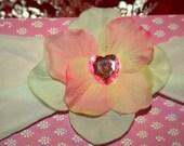 Handmade Headband Pink and Cream flower with pink heart jewel