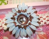 handmade baby/infant/newborn/preemie blue and brown flower clip with gem/ jewel