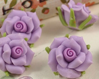 8 pcs 15 mm Polymer Clay Flower Beads FIMO Pendant Charm craft jewelry Necklaces Earrings Bracelet Accessories- Purple(f406)