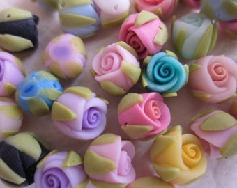 30 pcs 8 mm Mixed Color Polymer Clay Flower Beads FIMO Pendant Charm craft jewelry Necklaces Earrings Bracelet Accessories(h102)