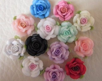 20 pcs 18 mm  Mixed Color Polymer Clay Flower Beads FIMO Pendant Charm craft jewelry Necklaces Earrings Bracelet Accessories(h106)