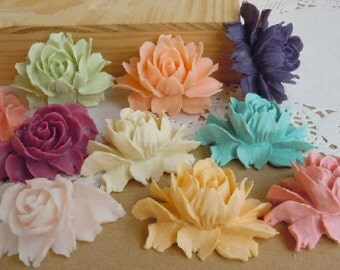 10 pcs  40 mm High-quality Resin flowers  Cabochon in 10 colors Pendant Charm craft jewelry