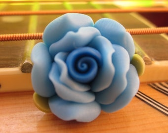 8 pcs 18 mm Polymer Clay Flower Beads FIMO Pendant Charm craft jewelry Necklaces Earrings Bracelet Accessories- Blue(f1010)