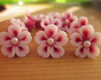 8 pcs 12 mm Polymer Clay Flower Beads FIMO Pendant Charm craft jewelry Necklaces Earrings Bracelet Accessories-by sunshinepark99 on etsy
