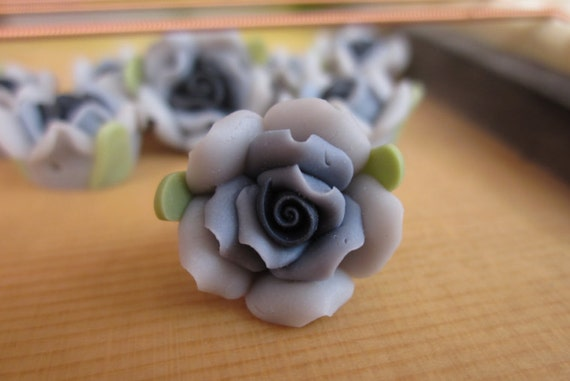 8 pcs 14 mm Polymer Clay Flower Beads FIMO Pendant Charm craft jewelry Necklaces Earrings Bracelet Accessories- Gray(f203)