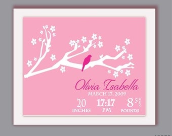 Nursery Decor Custom Baby print cherry blossom tree with bird Personalized With Your Name and Colors