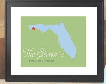 Personalized Custom STATE SWEET HOME - 8x10 /  house warming or wedding gift