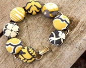 Yellow and Gray Pretty Pattern Covered Button Bracelet B8