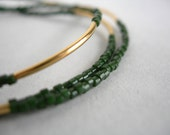Tiny Beaded Bracelet in Olive Green and Gold, Friendship Bracelet