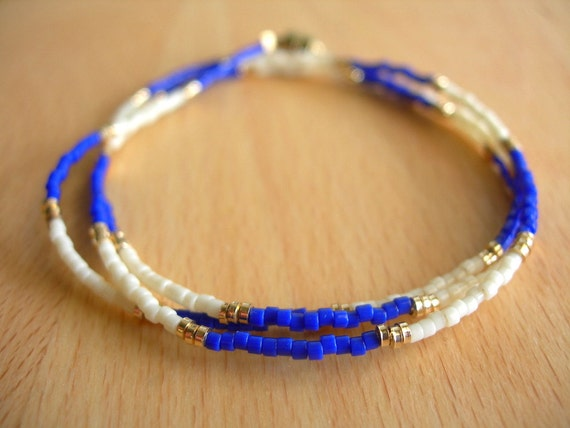 Tiny Beaded Bracelet in Cobalt Blue, Cream and Gold, Friendship Bracelet, Delicate Dainty Bracelet