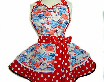 Summer July 4th Cupcake Apron with Red & White Polka Dots Retro Apron