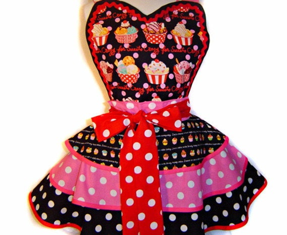 """Kawaii Japanese Fabric """"Crazy For Sweets"""" Polka Dots Diner Apron-A Tie Me Up Aprons Exclusive"""