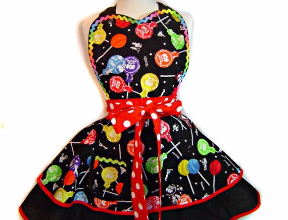 Tootsie Pops Lollipop Retro Candy Counter Sexy Womens Pinup Apron