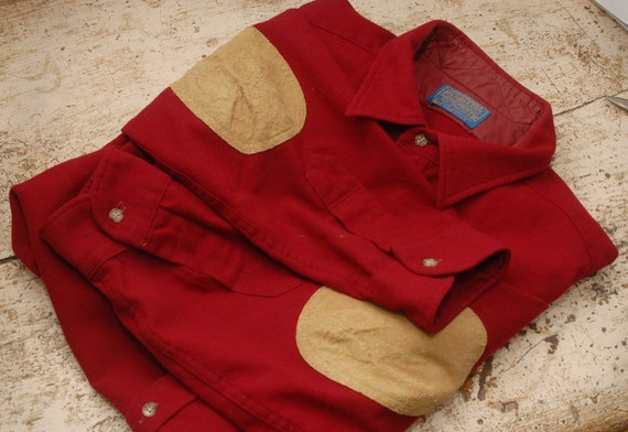 Vintage XL Rustic Red Pendleton Pure Virgin Wool Shirt with Suede Elbow pads / patches Excellent condition