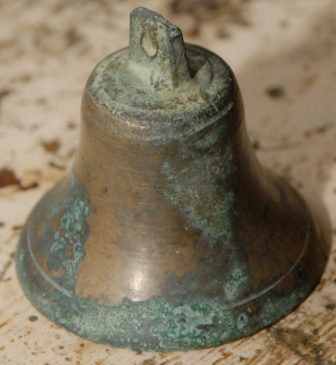 Antique Vintage Rustic Brass Or Copper Bell With Nice