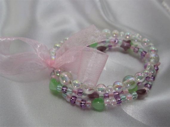 RESERVED  Listing for Dorothy Little Girls Pink Crackle Glass Bracelet Set , Girls Bracelet Jewelry in Pink Stars and Hearts