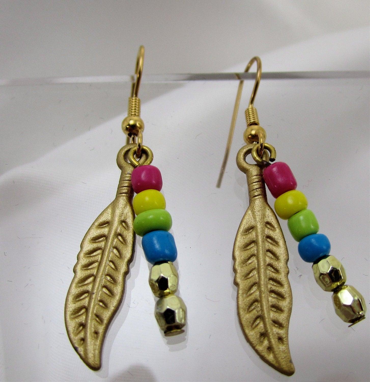 girls feather earrings little girls girls teens jewelry. Black Bedroom Furniture Sets. Home Design Ideas