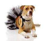 READY TO SHIP: Party Dog Tutu Dress, Formal Black & White Dog Wedding Costume- Customizable (size Medium / Large)