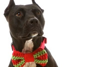 Christmas Sweater Bow Tie: Hand Crocheted in Bright Scarlet Red and Bold Apple Green for Every Day Wear & Holiday Parties (SM MED LRG)