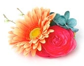 The Flamingo Floral Canine Wedding Corsage for Dogs (tangerine Gerber Daisy, turquoise blue Hydrangeas and pink Ranunculus)