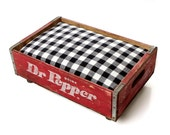 Dr. Pepper Luxury Vintage Pet Bed  for Small Dogs & Cats, Red White and Black Upcycled Rustic Industrial Chic (Memory Foam Mattress)