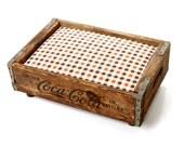 Coca Cola Luxury Vintage Pet Bed: Upcycled Soda Crate - Industrial Rustic Chic - Black, Cream, Brown & Orange