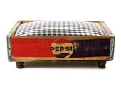Pepsi Cola Luxury Vintage Pet Bed for Dog or Cat: Recycled Soda Crate with Navy Gingham Upholstered Memory Foam Pad- MODERNDOG MAGAZINE