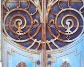 12x8 original photo print photography portugal blue rust door
