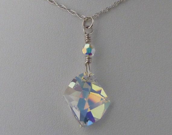 Swarovski crystal cosmic drop in Aurora Borealis on sterling chain