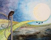 "Original Gouache Painting - ""Crow Moon"""