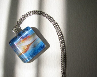 "Glass Tile Pendant - Print of Gouache Painting ""Transcontinental"""