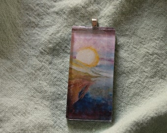 "Glass Tile Pendant - Print of Gouache Painting ""Elemental"""