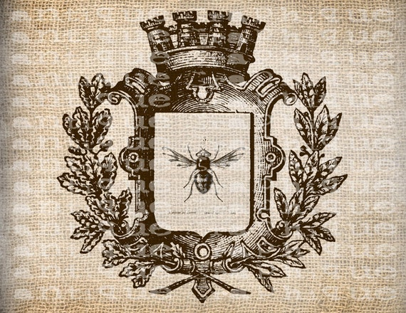 Antique SEPIA French Crown Queen Bee Ornate Illustration Digital Download for Papercrafts, Transfer, Pillows, etc Burlap No 2411