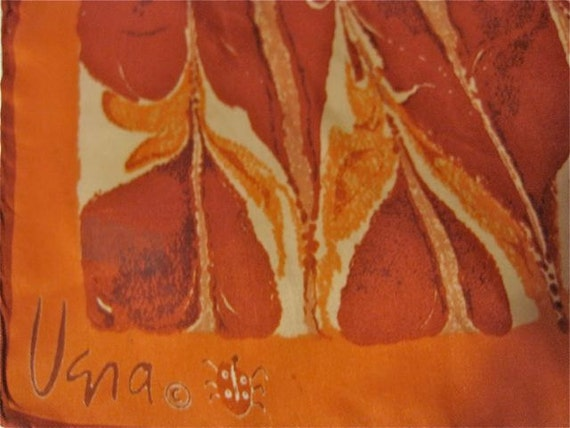 Vintage Vera Neumann Op Art scarf in Orange and Red Psychedelic pattern