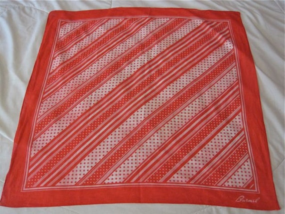 Vintage Burmel SOFT Cotton Scarf 50s Polka Dot Stripes Red Kerchief