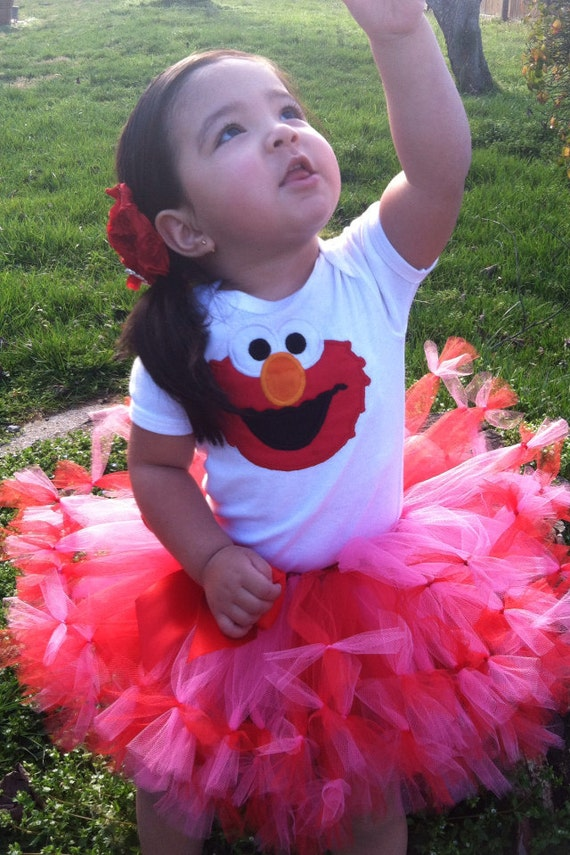 Gorgeous elmo tutu with shirt/onesie personalize (also available other colors)