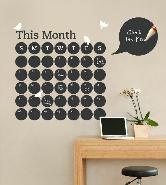 Daily Dot Calendar Decal, Chalkboard Wall Decals, Monthly Planner, Chalkboard Planner - by Simple Shapes