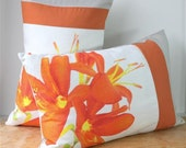 "Modern Floral Print Quilted Pillow SET of 2: Crocosmia 16""x24"""