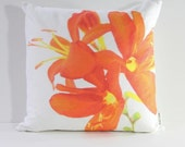 HALF OFF Sample SALE Garden Flowers Pillow Cover: Crocosmia (Right-Side Print)