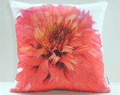 HALF OFF Sample SALE Garden Flowers Pillow Cover: Coral Double Coneflower