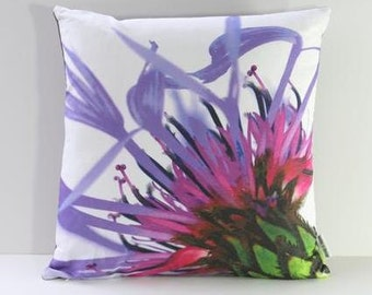 Garden Flowers Pillow Cover: Mountain Cornflower (Right-Side Print)