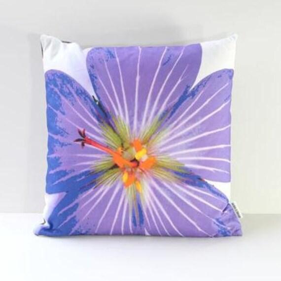 Garden Flowers Pillow Cover: Johnson's Blue Geranium