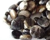 Silver Leaf Jasper Coin Shaped Bead Strand (2146)
