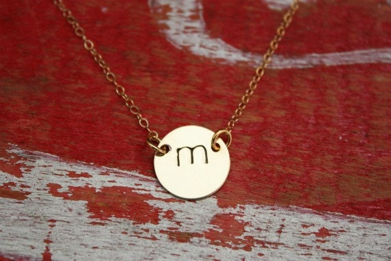 Initial Disc Gold Necklace 14K Goldfilled Initial Pendant