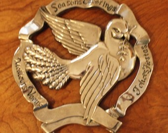 Vintage Silver Plated, Trivet, Wall Hanger, Godinger, Seasons Greeting Dove