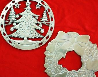 Vintage Brass Trivets, Christmas Designs, Set of 2