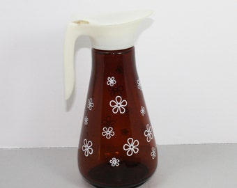 Vintage Syrup Pitcher,  Thatcher Manufacturing, Amber, Brown  Glass and White Daisies